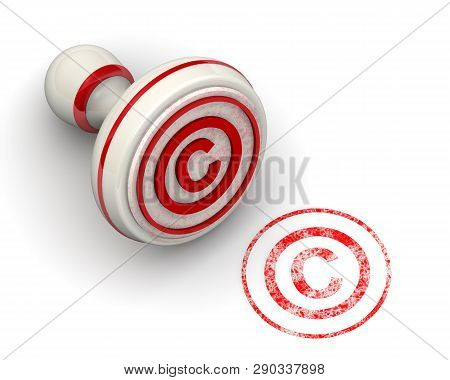 The Symbol Of Copyright Protection. Seal And Imprint. The Red Seal And Imprint Of The Symbol Of Copy