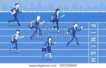 Businessmen Running At Business Competition. Rivalry Race Between Companies Or Managers, Workers In