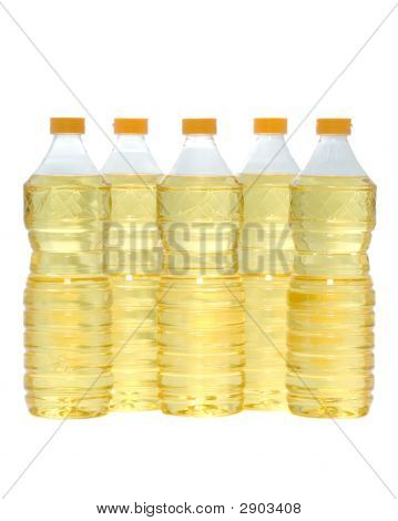 Yellow oil in plastic bottle with red cork poster