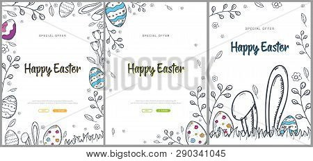 Set Of Happy Easter Backgrounds With Traditional Sketches Decorations. Easter Greeting With Colored