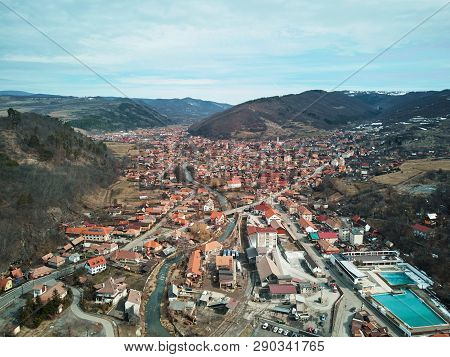 Aerial Shot Of Famous Praid Salt City At Daylight