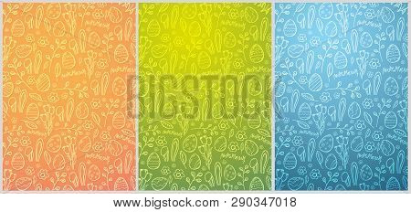Set Of Easter Backgrounds With Easter Eggs. Doodle Hand Draw Background. Vector Illustration.