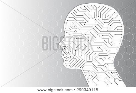 Technology Background With Circuit Board Inside The Head Silhouette. Virtual Engineering Concept. Ar
