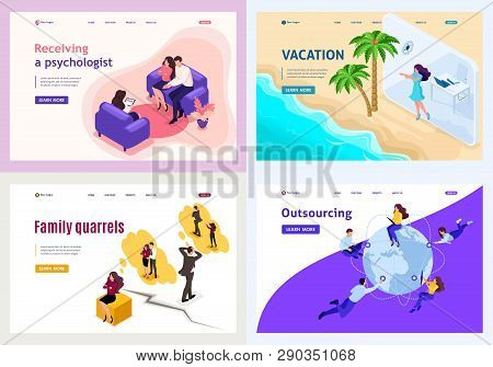 Set Template Design, Isometric Concept Family Psychology And Conflicts, Vacation, Freelance.