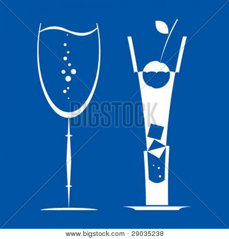 silhouette picture of tall glass and footed tumbler