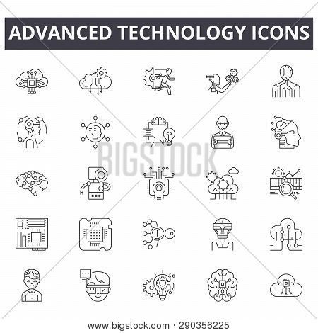 Advanced Technology Line Icons. Editable Stroke Signs. Concept Icons: Digital Business, Connection,