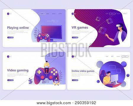 Set Of Landing Page Templates. Video Gaming, Online Games, Vr Gaming, Gamepad. Flat Vector Illustrat