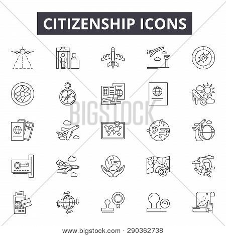 Citizenship Line Icons For Web And Mobile Design. Editable Stroke Signs. Citizenship  Outline Concep