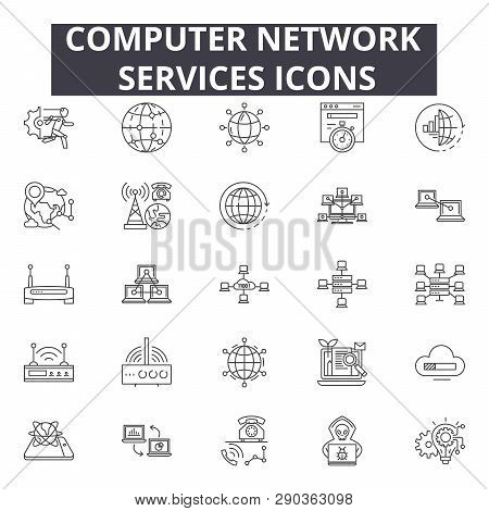 Computer Network Services Line Icons For Web And Mobile Design. Editable Stroke Signs. Computer Netw