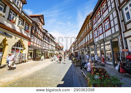 Wernigerode, Germany - August 12 - 2018: Tourists Shopping On A Street In The City Of Wernigerode