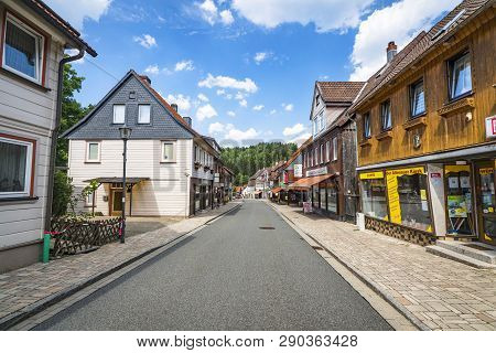 Altenau, Germany - August 12 - 2018: Altenau City In The Summer With Classic Old German Buildings On