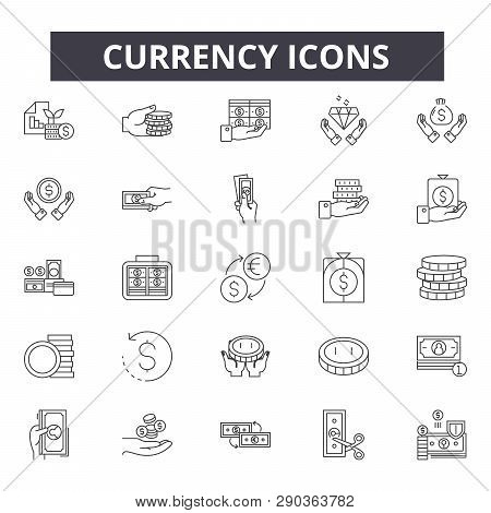 Currency Line Icons For Web And Mobile Design. Editable Stroke Signs. Currency  Outline Concept Illu