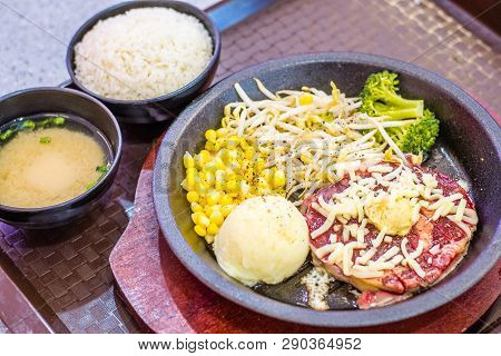 Sizzling Hotplate Ribeye Steak With Corn, Beansprout, Broccoli,  Rice And Miso Soup.