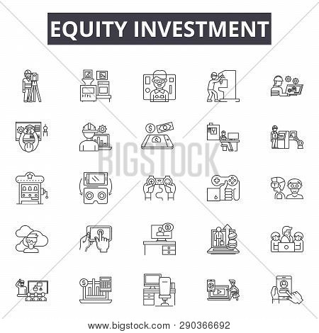 Equity Investment Line Icons For Web And Mobile Design. Editable Stroke Signs. Equity Investment  Ou