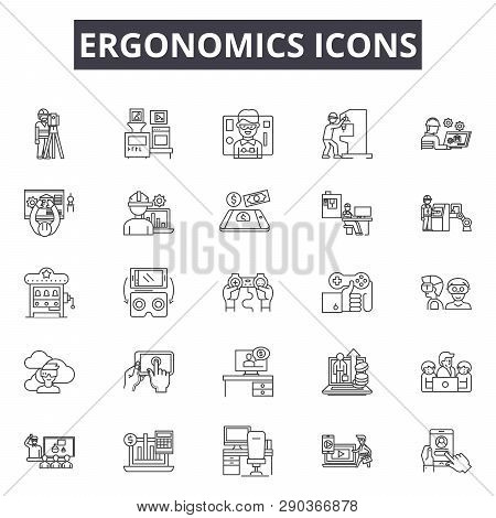 Ergonomics Icons Line Icons For Web And Mobile Design. Editable Stroke Signs. Ergonomics Icons  Outl
