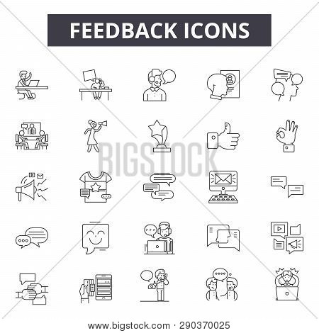 Feedback Line Icons For Web And Mobile Design. Editable Stroke Signs. Feedback  Outline Concept Illu