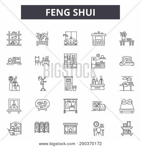 Feng Shui Line Icons For Web And Mobile Design. Editable Stroke Signs. Feng Shui  Outline Concept Il