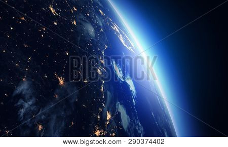 Night Earth And Sunrise. Earth And Space. Earth At Night, View From Space. City Lights On Planet. El
