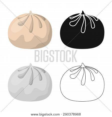 Isolated Object Of Baozi And Khinkali  Symbol. Set Of Baozi And Breakfast  Vector Icon For Stock.