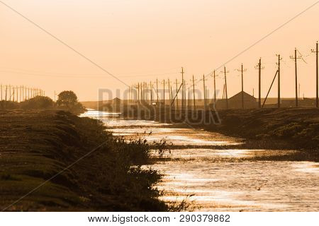Sunset In The Chyornye Zemli (black Lands) Nature Reserve, Kalmykia Region, Russia.