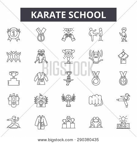 Karate School Line Icons For Web And Mobile Design. Editable Stroke Signs. Karate School  Outline Co