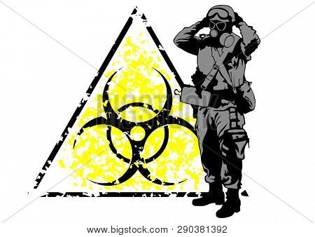 Soldier in protective clothes and radiation hazard sign on a white background
