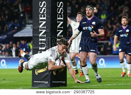 LONDON, ENGLAND - MARCH 16 2019: George Ford of England scores a try during the Guinness Six Nations match between England and Scotland at Twickenham Stadium.