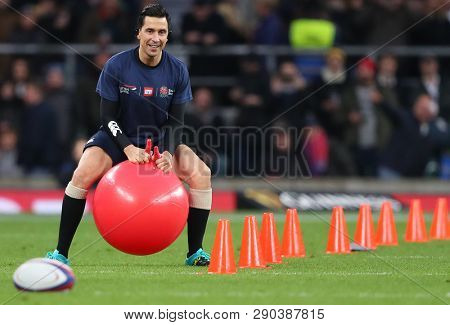 LONDON, ENGLAND - MARCH 16 2019: Comedian Russell Kane takes part in a comic relief event during half time at the Guinness Six Nations match between England and Scotland at Twickenham Stadium.