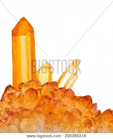 bright citrine crystals isolated on white background