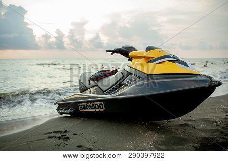 Ureki, Georgia August 2018 Black Sand Beach Red Hydrocycle