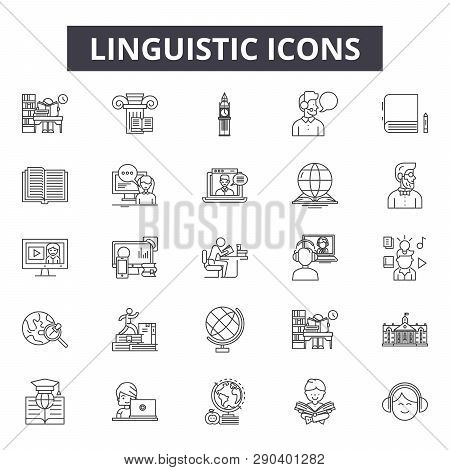 Linguistic Line Icons For Web And Mobile Design. Editable Stroke Signs. Linguistic  Outline Concept