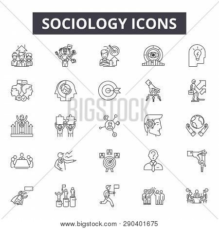 Sociology Line Icons For Web And Mobile Design. Editable Stroke Signs. Sociology  Outline Concept Il