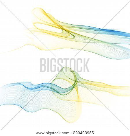 Bright Green Blue Speed Abstract Lines Flow Minimalistic Fresh Swoosh Seasonal Spring Wave Transitio
