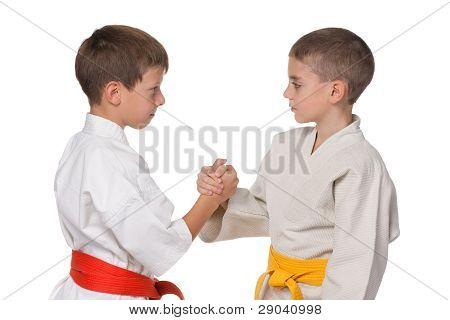 Handshaking Boys In Kimono
