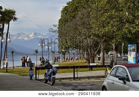 Verbania, Piedmont, Italy. March 2019. The Lakefront