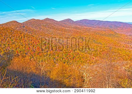 Fall Colors in a Mountain Vista on the Blue Ridge Parkway in North Carolina poster