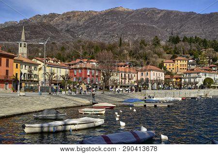 Mergozzo, Piedmont, Italy. March 2019. The Lakefront