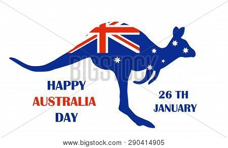 Australian Flag In The Shape Of Kangaroo. Wallaby For Australia Day Emblem. Happy Australia Day Card