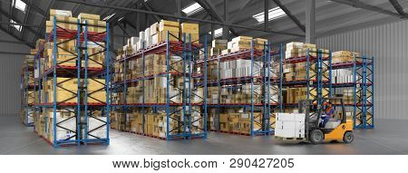 Warehouse worker in forklift in warehouse of a freight forwarder (3d Rendering)