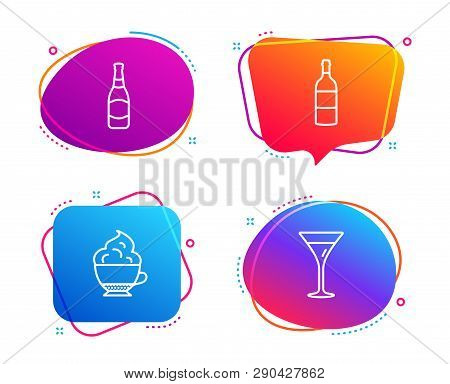 Wine Bottle, Beer Bottle And Cappuccino Cream Icons Simple Set. Martini Glass Sign. Cabernet Sauvign
