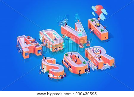 Vector Illustration Advissor On Blue Background. Small People In Middle Capital Letters Suggest Ways