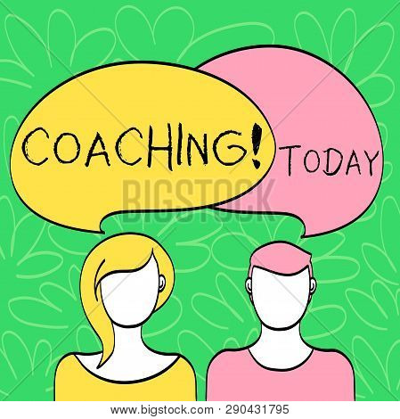 Conceptual hand writing showing Coaching. Business photo text Prepare Enlightened Cultivate Sharpening Encourage Strenghten Faces of Male and Female Colorful Speech Bubble Overlaying. poster