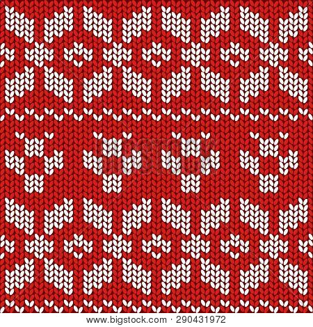 Red And White Christmas Festive Sweater Fairisle Design. Knitting Pattern For Winter Designs.