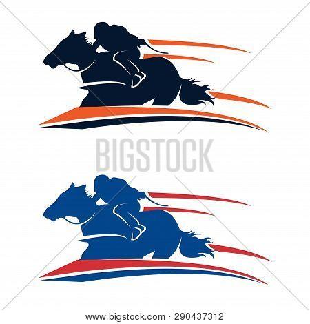 Fast Racehorse Horse Running Logo Illustration Isolated
