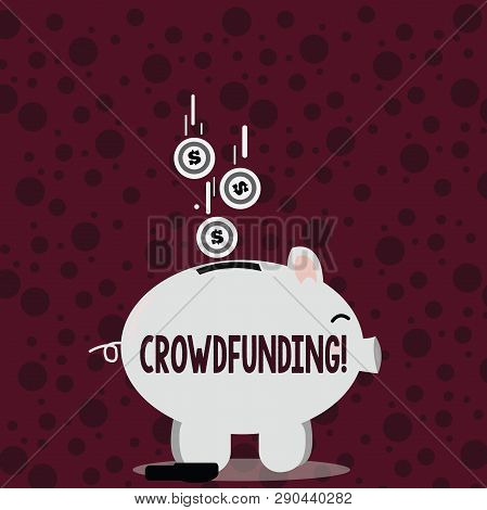 Writing Note Showing Crowdfunding. Business Photo Showcasing Funding A Project By Raising Money From