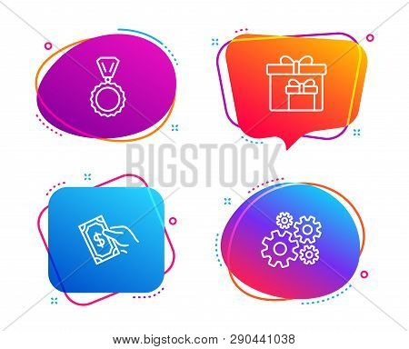 Pay Money, Delivery Boxes And Medal Icons Simple Set. Cogwheel Sign. Hold Cash, Birthday Gifts, Winn