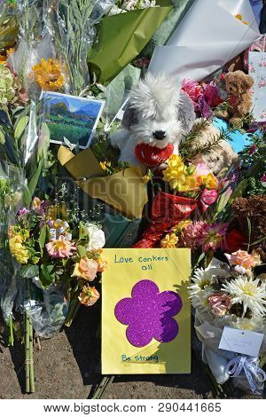 Christchurch, New Zealand - March 19, 2019; Floral Tribute & Love Conkers All Message Of Love From K