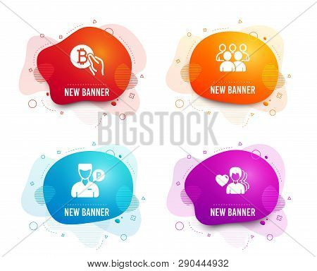 Liquid Badges. Set Of Bitcoin Pay, Group And Valet Servant Icons. Man Love Sign. Cryptocurrency Coin
