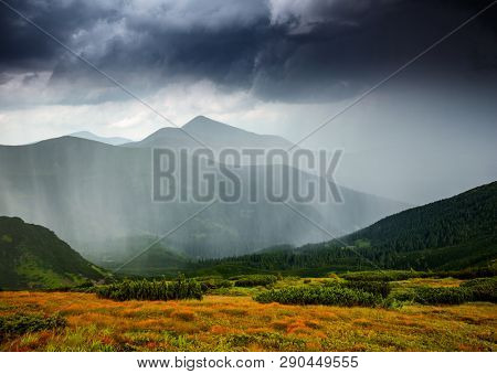 Powerful heavy rainfall. Location place carpathian mountains national park, Ukraine, Europe. Scenic image of forces of nature. Moody weather. Heaven before the storm. Discover the beauty of earth.