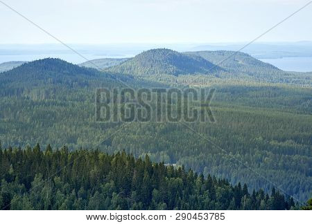 Summer Landscape View From The Top Of The Ukkokoli, A Fell At The National Park Koli, Joensuu, Finla